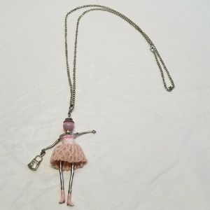 Princess Cowgirl Long Necklace Pink Silver Boots